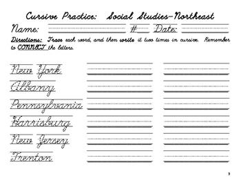 Cursive Practice-the Northeast Region