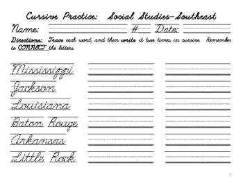 Cursive Practice-the Southeast Region