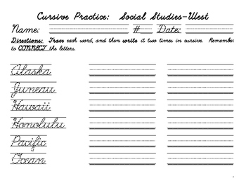 Cursive Practice-the West Region