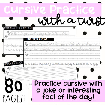 Cursive Practice with a TWIST! Joke of the Day 5 Day Sample!