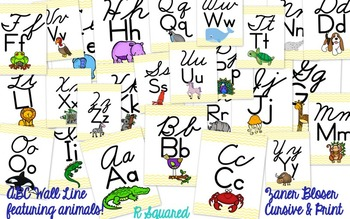 Cursive & Print ABC wall line - Animals only! - yellow chevron - Zaner Bloser