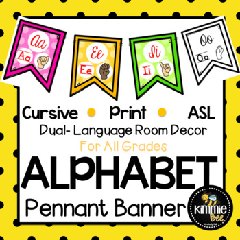 Cursive Print & American Sign Language Alphabet Pennant Bunting Banner