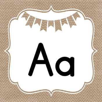 Cursive & Print Burlap Alphabet Lines