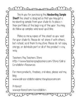 Cursive & Print Handwriting Sample Sheet