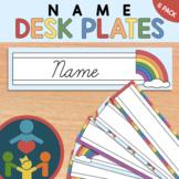 Cursive Rainbow Desk Name Plates : Editable Desk Strips