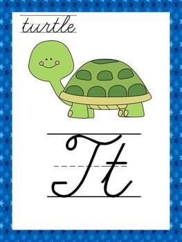 Cursive Space Alphabet Posters