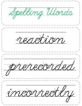 Cursive Spelling : Reading Street