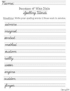 Cursive Spelling : Reading Street : Grade 4 : Unit 1