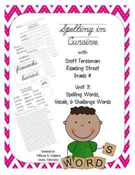 Cursive Spelling w/ Reading Street Grade 4