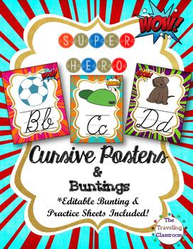 Cursive Posters & Worksheets {Super Hero}