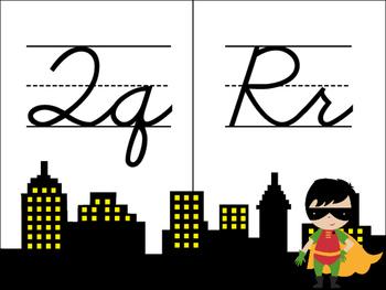 Cursive Superhero Alphabet - Justice League Themed