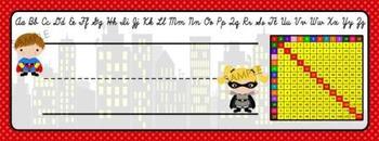 Cursive Superhero Name Tags (Super Hero Name Tags/Name Plates)