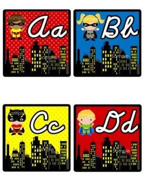 Cursive Superhero Word Wall (Super Hero Theme)