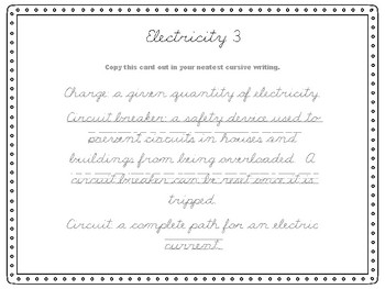 Cursive Task Cards Electricity Theme