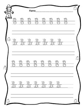 Cursive Trace & Write - Letter B - Fall / Autumn Back to School