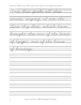 Cursive Trace and Write: Bible Passages and Verses (KJV)