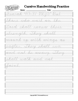 Cursive Tracing Practice Worksheets Teaching Resources Tpt