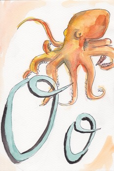 Cursive Watercolor Alphabet Animals