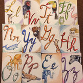 Cursive Watercolor Alphabet Animals
