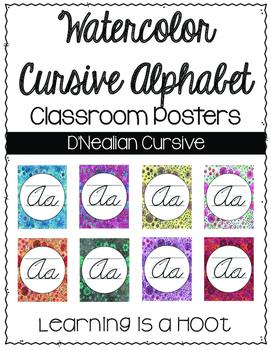 Cursive Watercolor Alphabet Poster- D'Nealian
