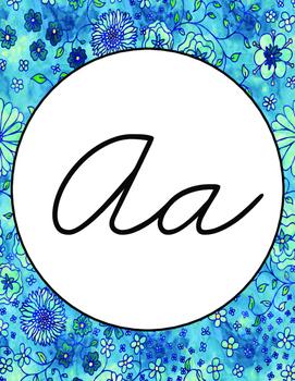 Cursive Watercolor Alphabet Poster- Zaner-Bloser