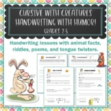 Cursive Handwriting Penmanship Worksheet Bundle Animal Riddles