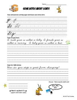 cursive handwriting penmanship worksheet bundle animal riddles tpt. Black Bedroom Furniture Sets. Home Design Ideas