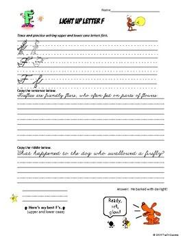 Cursive Handwriting Practice Penmanship Worksheets Bundle - Fun Animal  Riddles