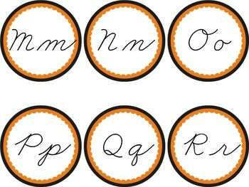 Cursive Word Wall Black & Orange Labels Headers Fall Halloween Bengals