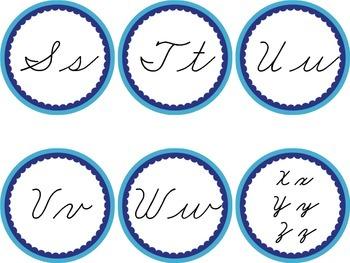 Cursive Word Wall Blue Labels Headers Ocean Sea Winter