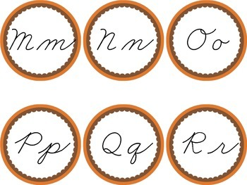 Cursive Word Wall Brown & Orange Labels Headers Fall Thanksgiving Cleveland