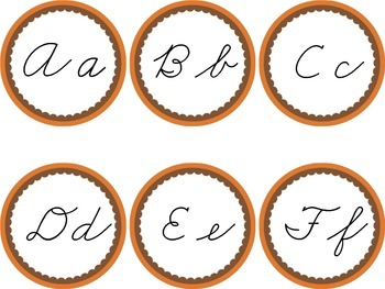 Cursive Word Wall Brown & Orange Labels Headers Fall Thank