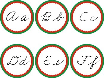 Cursive Word Wall Green & Red Labels Headers Christmas Winter