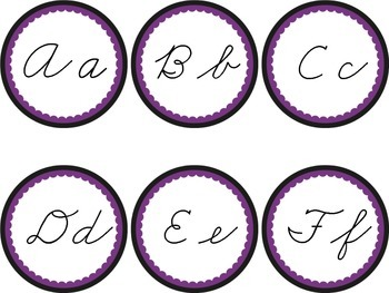 Cursive Word Wall Headers Black & Purple Ravens Rockies Magic Halloween