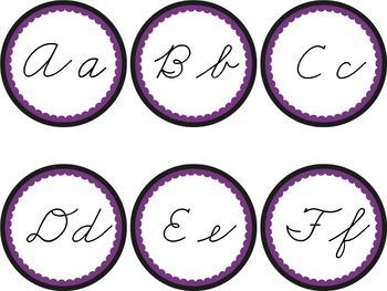 Cursive Word Wall Headers Black & Purple Ravens Rockies Ma