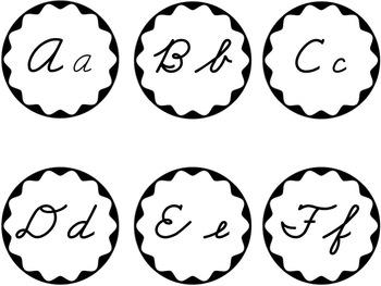Cursive Word Wall Headers Black & White