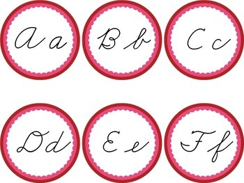 Cursive Word Wall Headers Red February Valentines