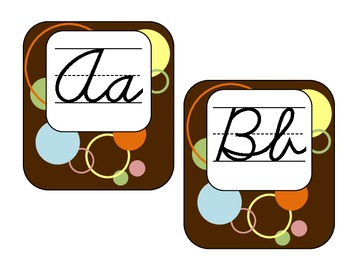 Cursive Word Wall Letters - Brown Pattern