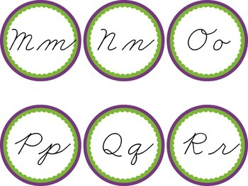 Cursive Word Wall Purple & Green Labels Headers