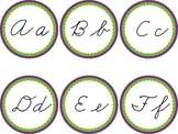 Cursive Word Wall Purple & Green Labels Headers