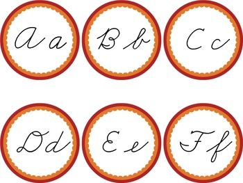 Cursive Word Wall Red & Orange Labels Headers Summer End of Year