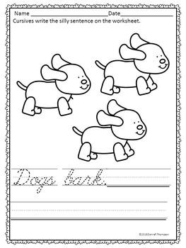 Cursive Writing: Simple Sentences Animal Sounds (Worksheets)