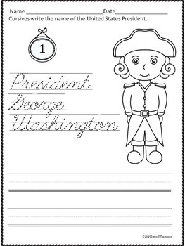 Cursive Writing: United States Presidents (Worksheets)