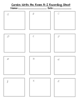 Cursive Write the Room- Cursive Letters A-Z with QR codes