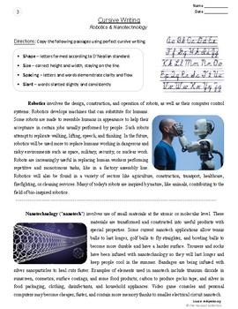 Cursive Writing | 16 Printable Handwriting Prompts | STEM (Grades 3-7)