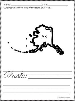 Cursive Writing: States (Worksheets)