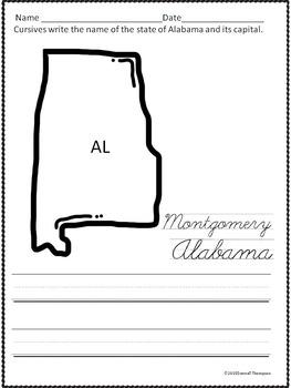 Cursive Writing: States and Capitals (No Prep Worksheets)