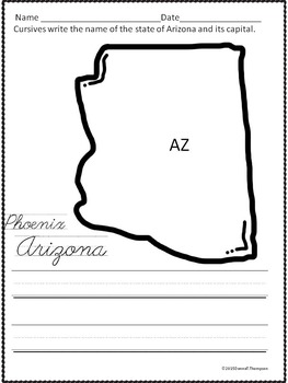 Cursive Writing: States and Capitals (Worksheets)