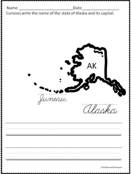 Cursive Writing: U.S. States and Capitals by Donna ...