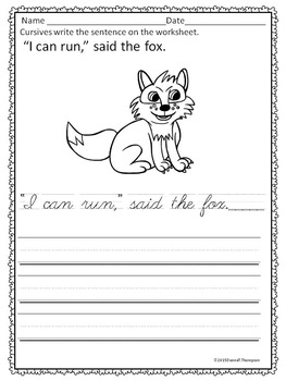 Cursive Writing: Sight Word Sentences (Worksheets)